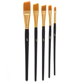 Gold Taklon Angular Shader Paint Brushes - 5 Piece Set
