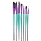 Mermaid Round & Angular Paint Brushes - 7 Piece Set