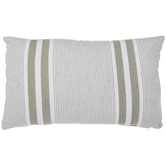 White & Olive Striped Pillow