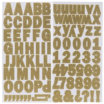 "Gold Glitter Franklin Alphabet Stickers - 1 1/4"""
