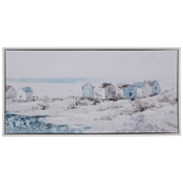 Huts Along Beach Canvas Wall Decor