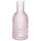 Pink Geometric Etched Glass Vase