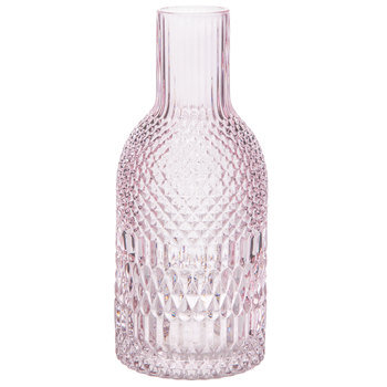 Pink Geometric Etched Glass Vase - Small