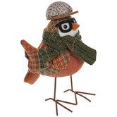 Orange Plaid Tweed Bird