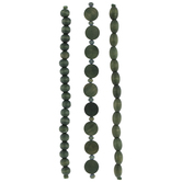 Green Disc & Rounded Wood Bead Strands