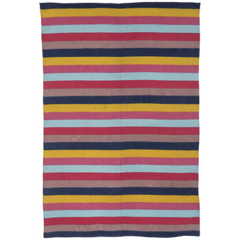 Pink, Yellow & Blue Striped Rug