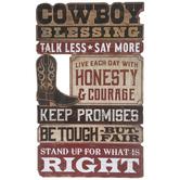 Cowboy Words Wood Wall Decor