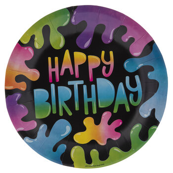 Slime Happy Birthday Paper Plates - Large