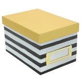 Black & White Striped Mini Photo Storage Box