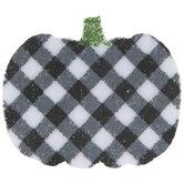Black & White Buffalo Check Pumpkin Felt Stickers