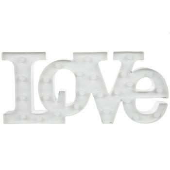 White Love Light Up Metal Decor