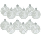 Clear & Frosted Snowflake Ball Ornaments