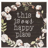 Our Happy Place Wreath Wood Wall Decor
