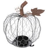 Chicken Wire Pumpkin Metal Candle Holder