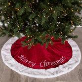Red & White Merry Christmas Velvet Tree Skirt
