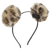 Leopard Print Pom Pom Headband