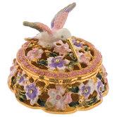 Hummingbird Floral Jewelry Box