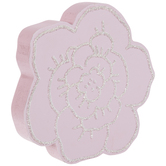 Pink Flower With Silver Glitter Wood Decor