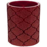 Red Glitter Quatrefoil LED Pillar Candle
