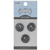 Pewter Waves Metal Shank Buttons - 17mm