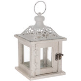 White Wood Punch Top Lantern