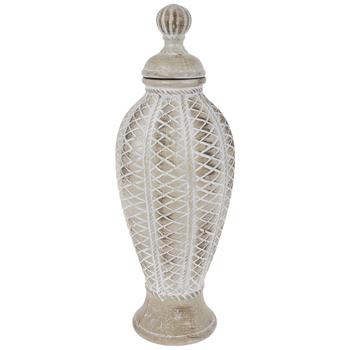 Whitewash Textured Bulbous Jar