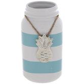 White & Blue Striped Pineapple Jar