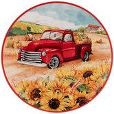 Truck In Sunflower Field Plate