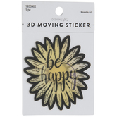 Be Happy Sunflower Lenticular Sticker
