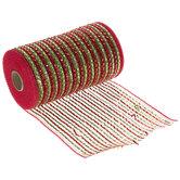 "Red & Green Metallic Deco Mesh Ribbon - 5 1/2"""
