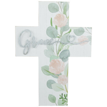 Grace Galvanized Floral Wood Wall Cross