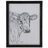 White & Black Sketched Cow Wood Wall Decor
