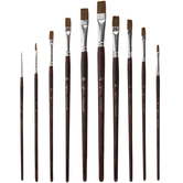 Light Brown Taklon Acrylic & Watercolor Flat Paint Brushes - 10 Piece Set