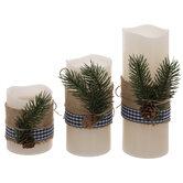 Ivory Burlap & Pine LED Pillar Candles