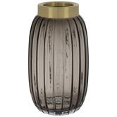 Gray & Gold Ridged Glass Vase