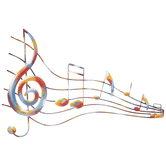 Painted Music Staff Metal Wall Decor