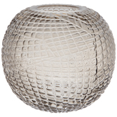 Gray Patterned Round Glass Vase
