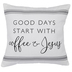Start With Coffee & Jesus Striped Pillow