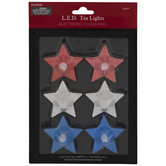 Red, Blue & Silver Star LED Candles