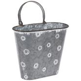 Whitewash Blooms Metal Wall Bucket