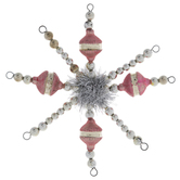 Pink Beaded Tinsel Star Ornament