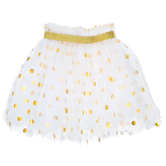 White & Gold Polka Dot Tutu