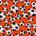 Orange Soccer Balls Fleece Fabric