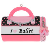 I Love Ballet Bag Personalized Ornament
