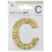 "Gold Glitter Letter Iron-On Applique C - 2 1/2"""