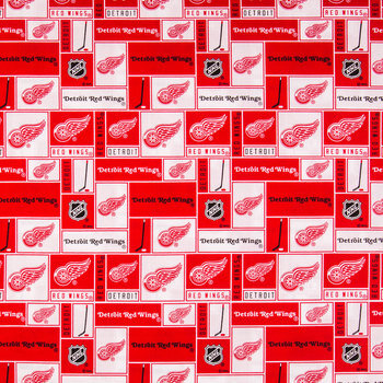 NHL Detroit Red Wings Block Cotton Fabric