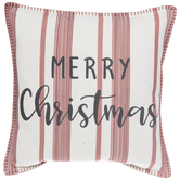 White & Red Striped Merry Christmas Pillow