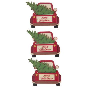 Christmas Tree Truck 3D Wood Embellishments