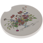 Sketched Flowers Car Coaster