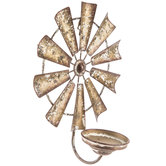Rustic Windmill Metal Wall Sconce